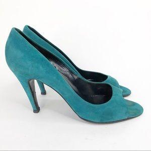 Pierre Hardy Vintage Green Aqua Suede Heels